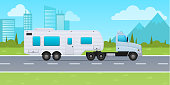 Motor home, mobile home on wheels, for travel around country, for trips. Truck with trailer, van, vehicle trailer, delivery of baggage. Movement on road on background of nature. Vector illustration.