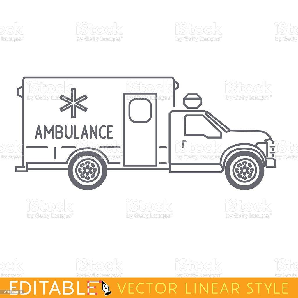 Truck-based ambulance. Editable vector icon in linear style vector art illustration
