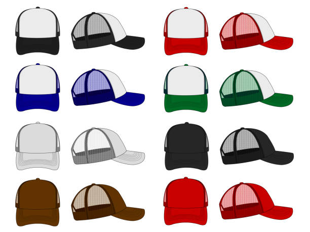 trucker cap / mesh cap template illustration set vector art illustration