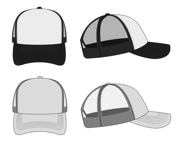 trucker cap / mesh cap template illustration set (black&white / gray) vector art illustration