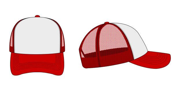 trucker cap / mesh cap template illustration (white & red) vector art illustration