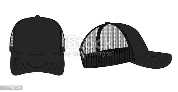 trucker cap / mesh cap template illustration (black)