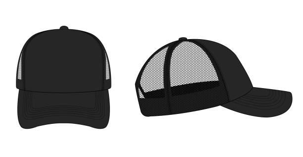 trucker cap / mesh cap template illustration (black) vector art illustration