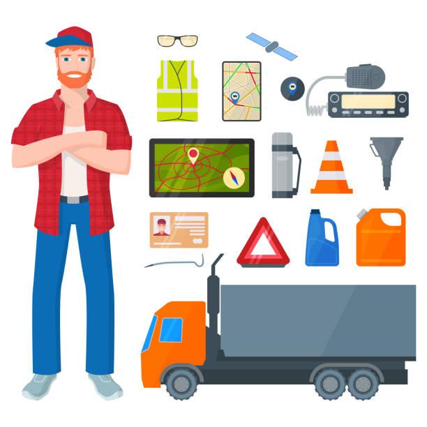 ilustraciones, imágenes clip art, dibujos animados e iconos de stock de camionero, hombre y camino de los atributos y herramientas. ilustración de vectores aislado sobre fondo blanco. - conductor de autobús