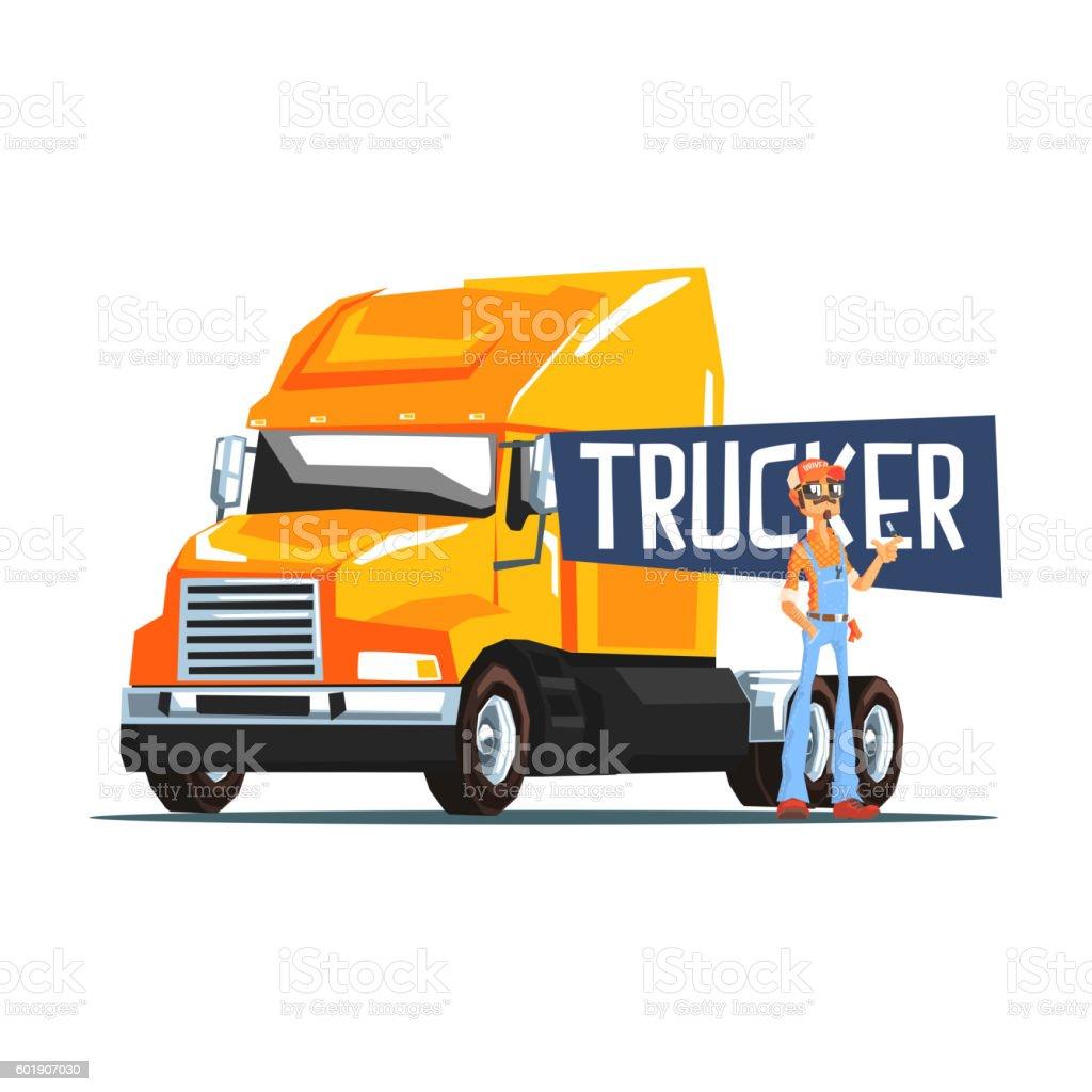 Trucker Standing Next To Heavy Yellow Long-Distance Truck - ilustración de arte vectorial