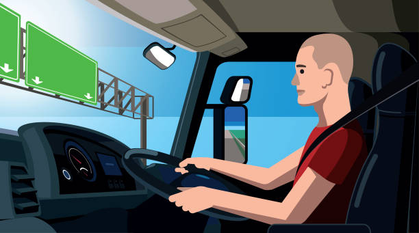 Trucker vector illustration, truck driver sitting in his cab, at the driving wheel, young worker drives the truck along the highway, view from inside the truck cabin vector art illustration