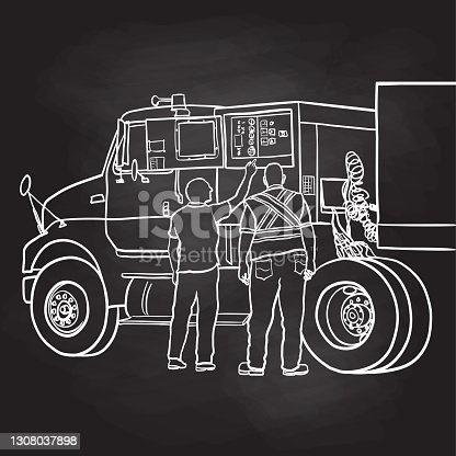 Two truckers opening the side panel of a semi to fix a problem. Sketch vector illustration, hand drawn.