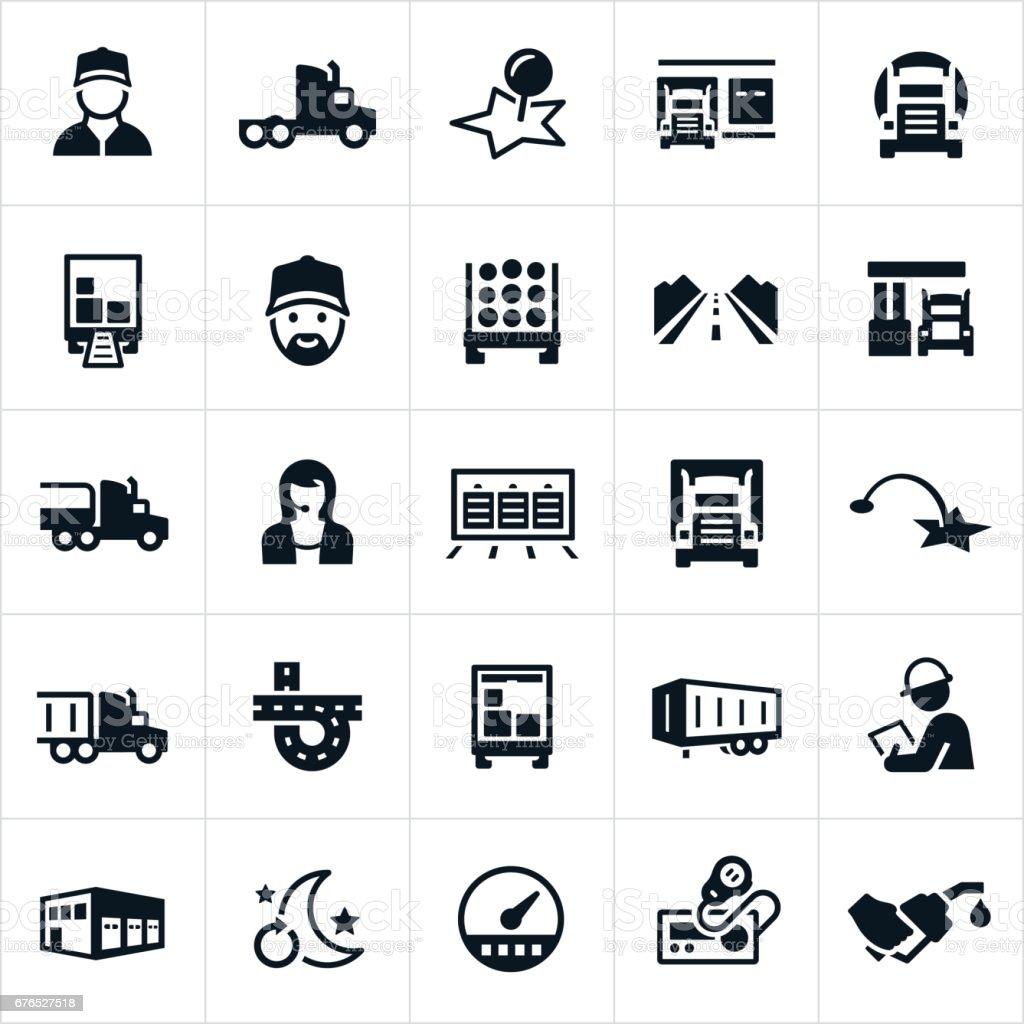 Icônes de l'industrie du camionnage - Illustration vectorielle