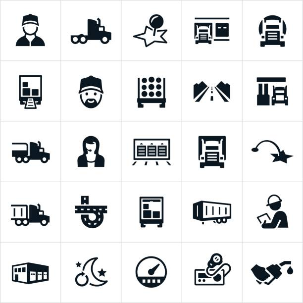 Trucking Industry Icons vector art illustration