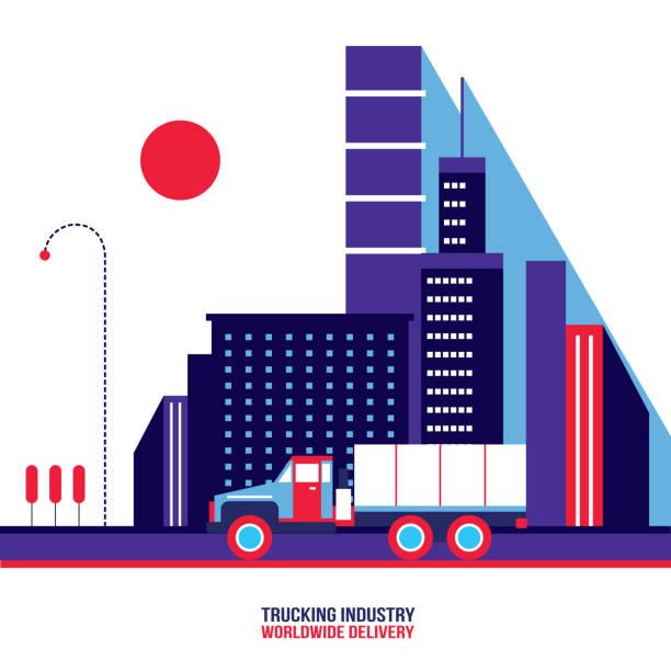 Camionnage industrie camion transport concept moderne design plat - Illustration vectorielle