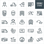 A set of trucking industry icons that include editable strokes or outlines using the EPS vector file. The icons include a truck driver, semi-truck, loading bay, map marker, open semi truck with boxes, truck with lumber, country road, highway, gas station, fuel tanker, customer support representative, destination, GPS, semi trailer, inspector, warehouse, around the clock driving, tachometer, CB radio and gas pump.