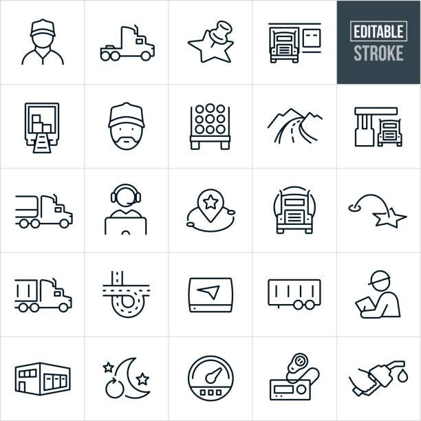 ilustraciones, imágenes clip art, dibujos animados e iconos de stock de iconos de línea fina de trucking - trazo editable - conductor de autobús