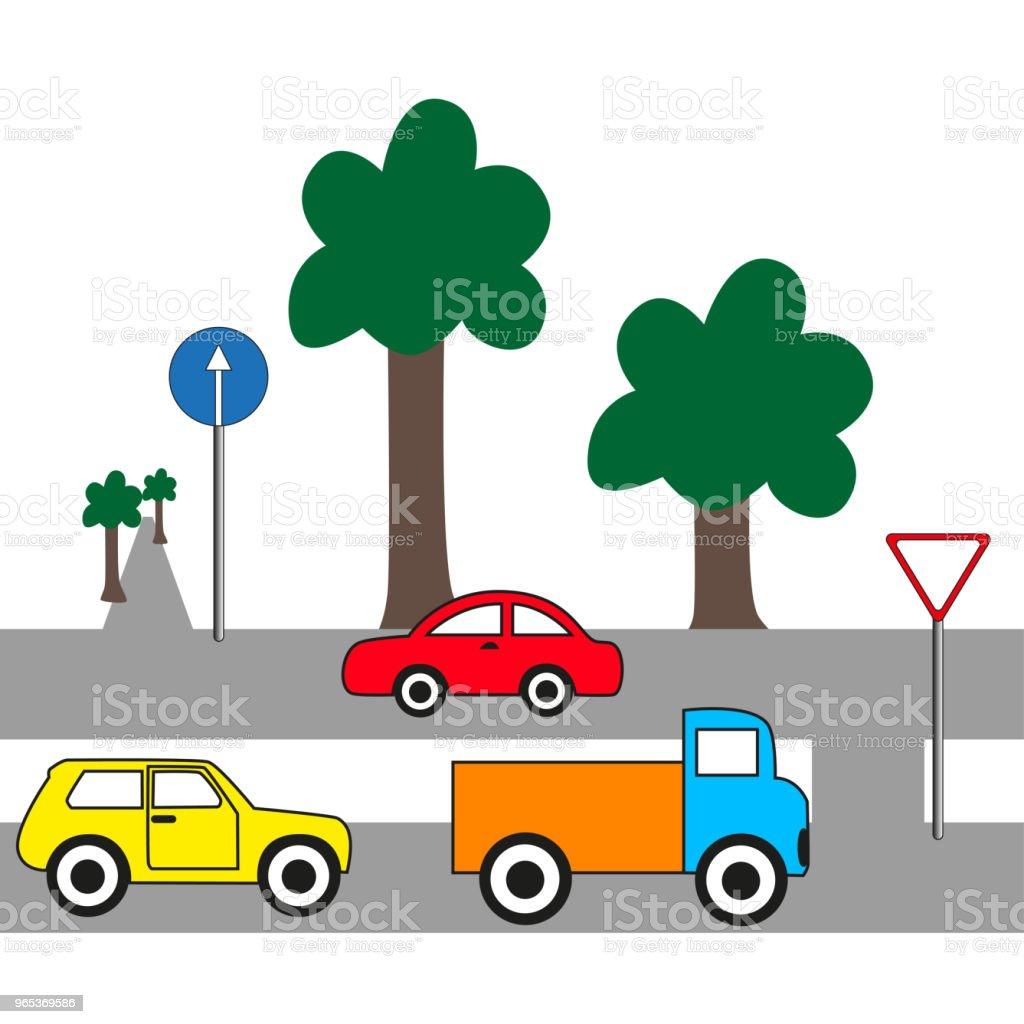 Trucks and cars on the road. trucks and cars on the road - stockowe grafiki wektorowe i więcej obrazów bez ludzi royalty-free