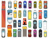 Trucks and cars top view. Various automobiles and trucks motor wheel vehicles set. Vector top view of trucks and cars collection. Automotive transportation and auto industry concept