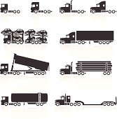 Trucks and Semi-Trailer Icons. Layered & grouped for ease of use. Download includes EPS 8, EPS 10 and high resolution JPEG & PNG files.