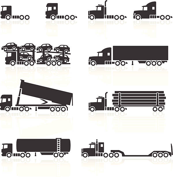 Trucks and Semi-Trailer Icons Trucks and Semi-Trailer Icons. Layered & grouped for ease of use. Download includes EPS 8, EPS 10 and high resolution JPEG & PNG files. semi truck stock illustrations