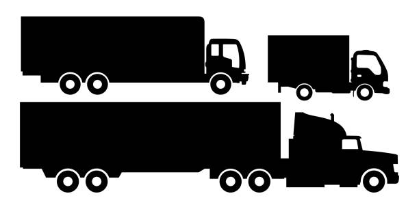 Trucks and trailers black and white isolated white background. vector art illustration
