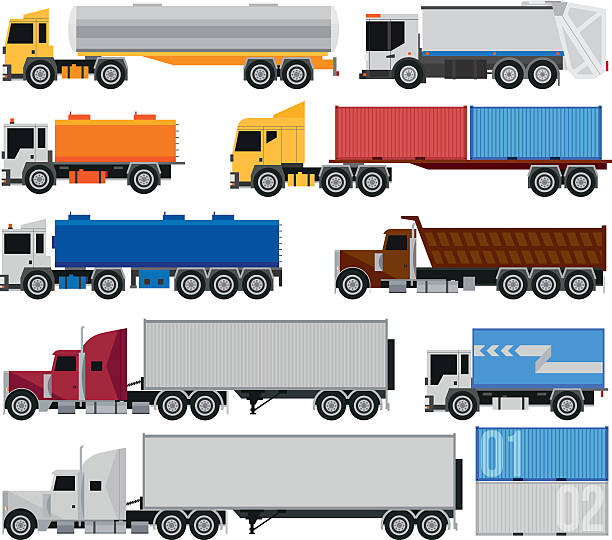Trucks and trailers vector art illustration