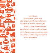 Children's toys: trucks, cars, bus, dump, ball, boat, helicopter. Design for poster or print.
