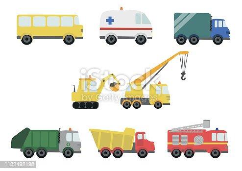 Ambulance, bus, crane, excavator
