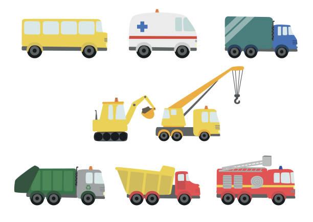 Trucks cute cartoon vector illustration Ambulance, bus, crane, excavator fire engine stock illustrations