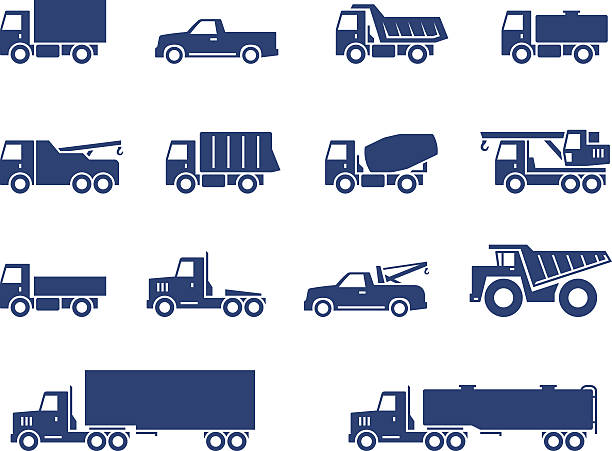 Trucks icons set Trucks icons set. Vector silhouettes of vehicles semi truck stock illustrations