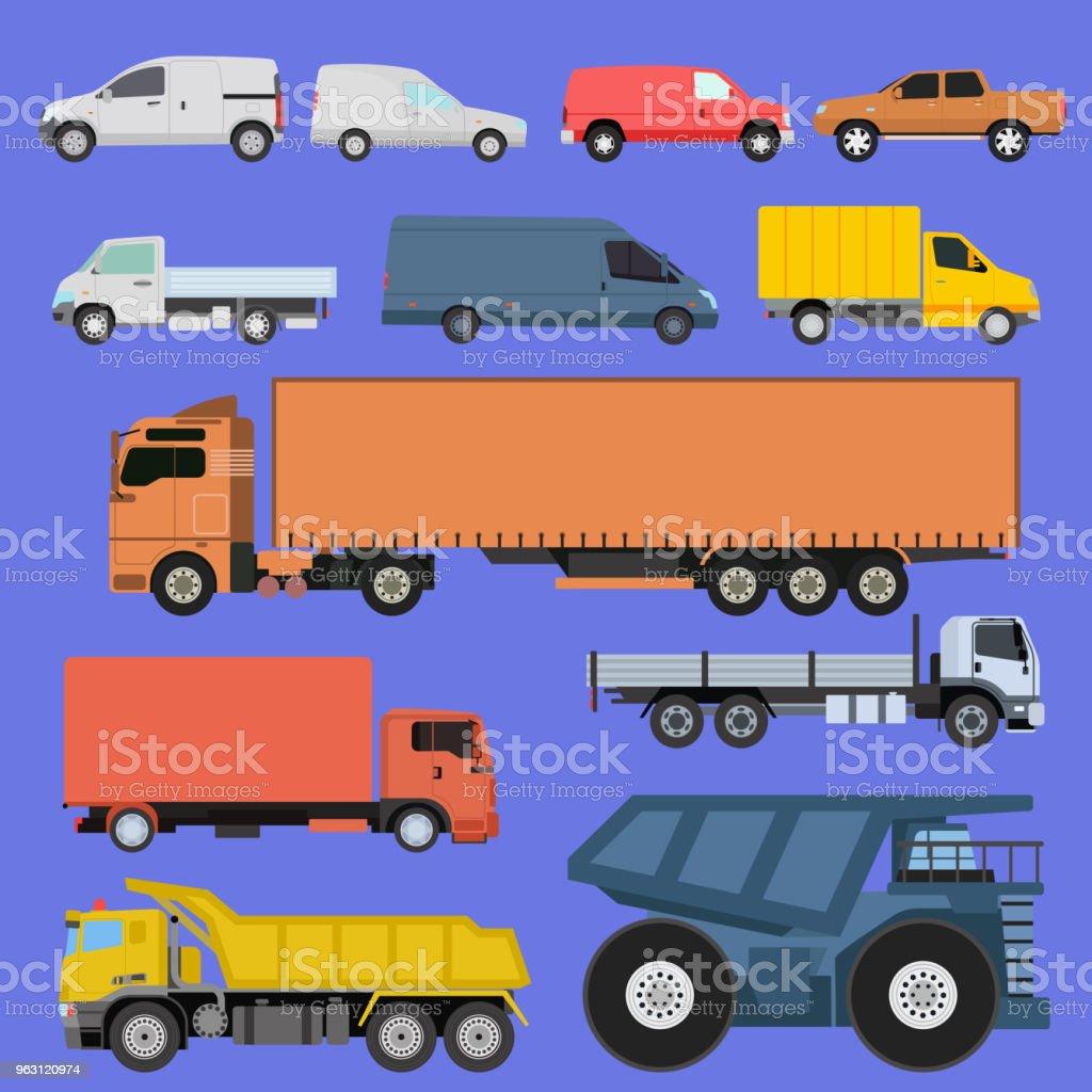 Trucks Icons Set Vector Shipping Cars Vehicles Cargo