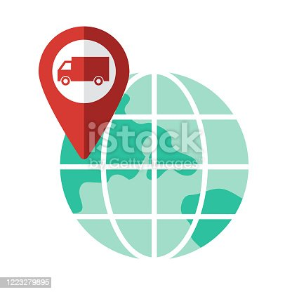 A flat design map pin location icon. File is built in the CMYK color space for optimal printing. Color swatches are global so it's easy to change colors across the document.