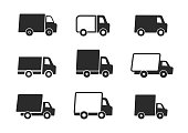 Trucks set. Delivery service icons. Express delivery. Vector black icon.