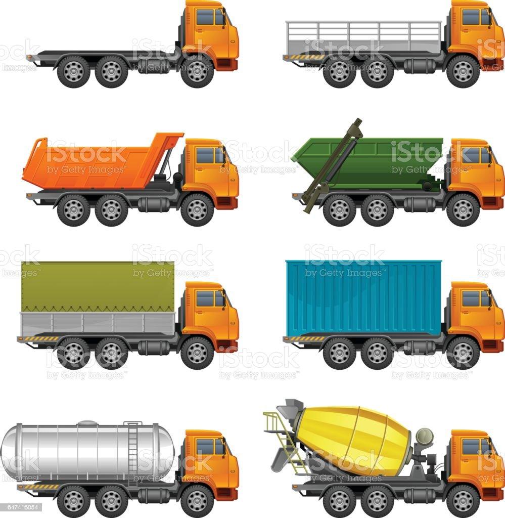 Trucks set vector art illustration