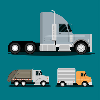 trucks trailer, garbage and delivery service transport, side view vehicles