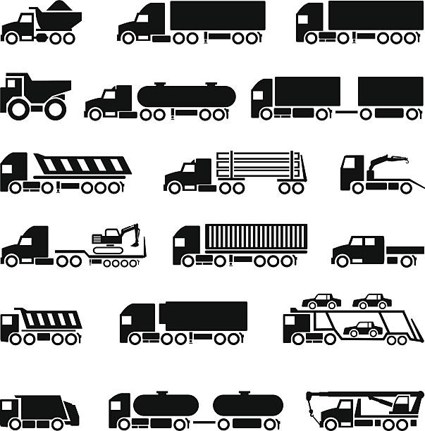 Trucks, trailers and vehicles icons set Trucks, trailers and vehicles icons set isolated on white. This illustration - EPS10 vector file. semi truck stock illustrations
