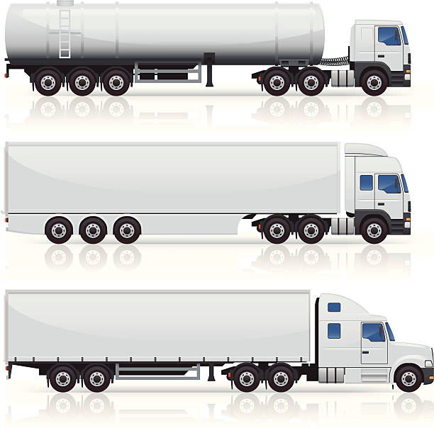 Trucks & Trailers Icons Generic commercial truck and trailer icons. Layered and grouped for ease of use. Download includes EPS file and hi-res jpeg. semi truck stock illustrations