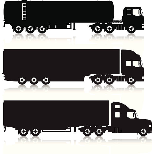 Trucks & Trailers Silhouettes vector art illustration