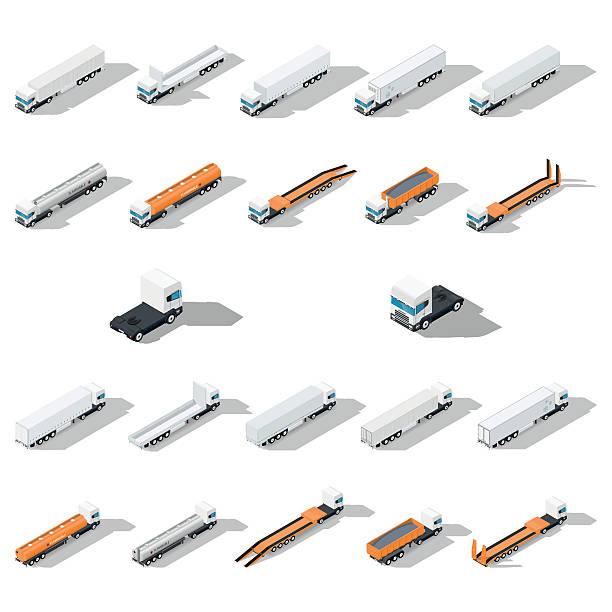 bildbanksillustrationer, clip art samt tecknat material och ikoner med trucks with semitrailers detailed isometric icon set - traktor pulling