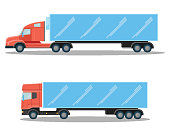 Huge trucks with small cubic and spacious oblong shapes of cabins and long bassive body isolated cartoon vector illustrations on white background.