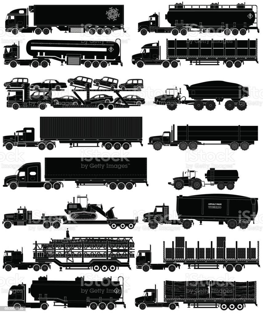 Trucks with trailers silhouettes set. Vector illustration vector art illustration
