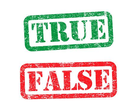True and False grunge style rubber stamp icon symbol. Vector illustration image. Isolated on white background.