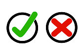 True and False icon in circle.