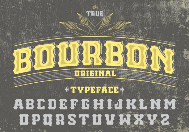 True bourbon typeface. vector art illustration