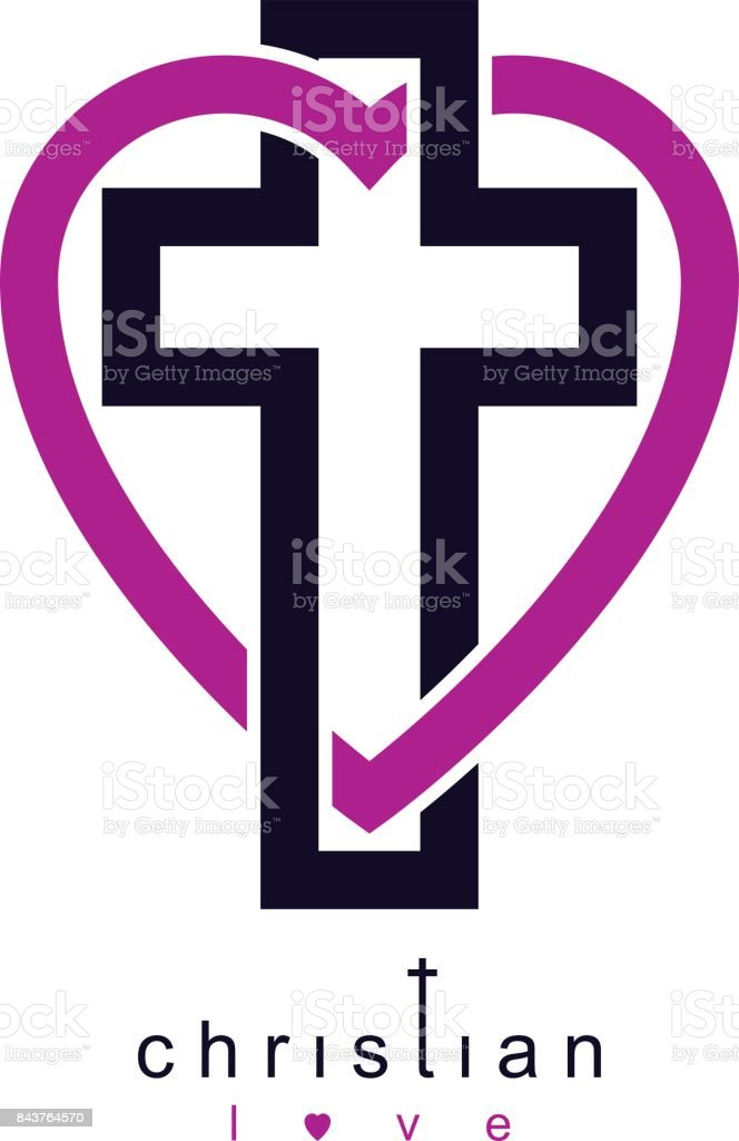 True Christian Love and Belief in God, vector creative symbol design, combined Christian Cross and heart, vector sign. vector art illustration