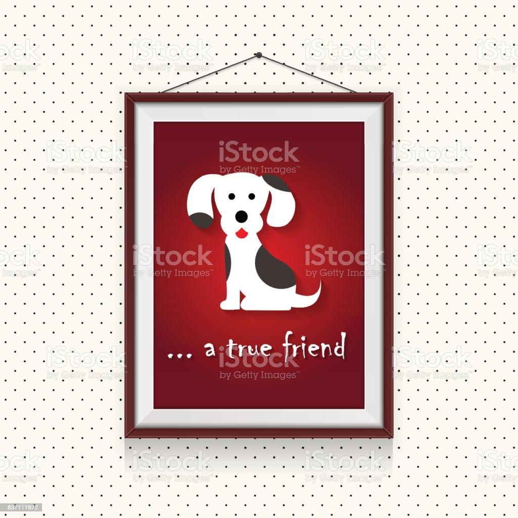 Ein Echter Hund Freund Lustige Cartoon Hund Bild In Bilderrahmen Auf ...
