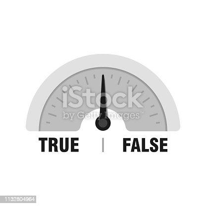 True False measuring gauge. Vector indicator illustration. Meter with black arrow in white background.