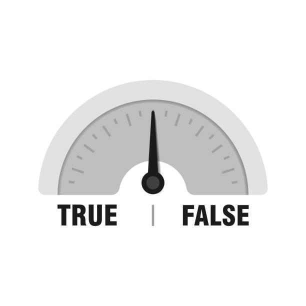 True False measuring gauge. Vector indicator illustration. Meter with black arrow in white background True False measuring gauge. Vector indicator illustration. Meter with black arrow in white background. artificial stock illustrations