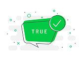True label. Check mark icon. Trendy flat vector bubble.