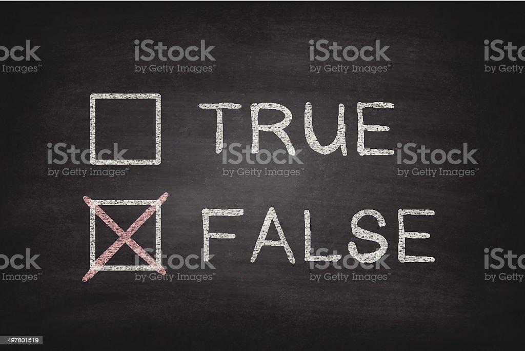 True or False Checkboxes on Blackboard - Chalkboard vector art illustration