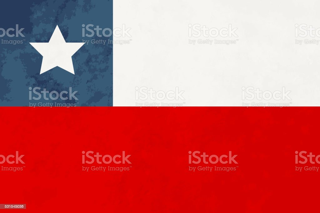 Wahre Ausmaß Chile-Flagge mit einer Textur – Vektorgrafik