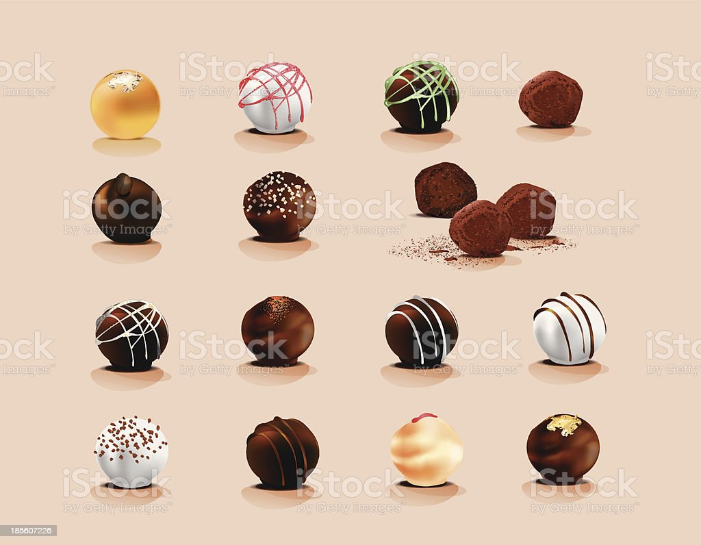 Truffle chocolate vector art illustration