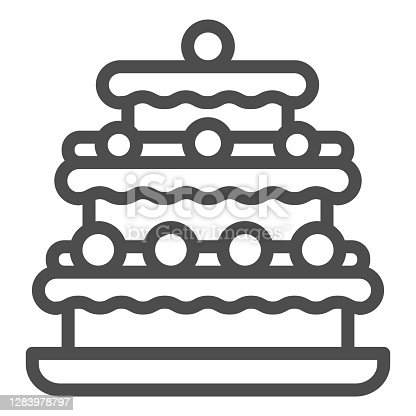 Truffles cake line icon, Birthday cupcake concept, Three tiered cake sign on white background, Truffle dessert with chocolate glaze icon in outline style for mobile and web. Vector graphics