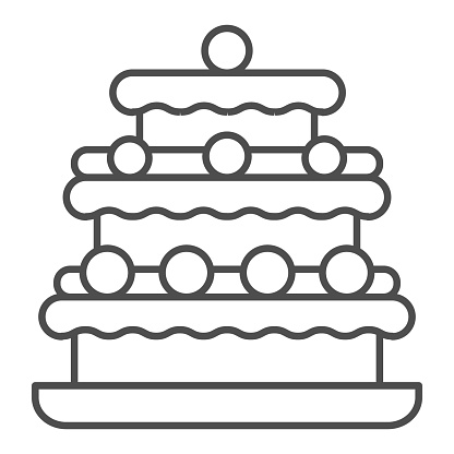Truffles cake thin line icon, Birthday cupcake concept, Three tiered cake sign on white background, Truffle dessert with chocolate glaze icon in outline style for mobile and web. Vector graphics.